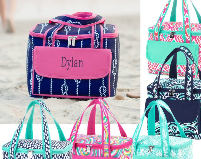 Personalized Picnic Bag,  Insulated zippered Tote, Drink Cooler