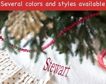 Embroidered Christmas Tree Skirt, Holiday decoration, Ruffled tree skirt