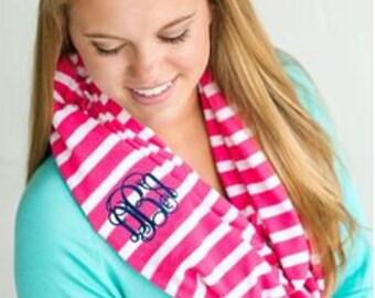 Kids Hot Pink Stripe  scarf, childs scarf, kids scarf, kids monogrammed scarf, girls scarf