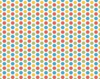 Hexagon Fabric, Cotton Fabric by the Yard or Half Yard Fabric, Quilt Fabric, Kids Fabric,  Geometric Fabric, Cruiser Blvd, RB6