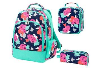 Personalized Girls Flower Backpack,  Lunch box, and/or Pencil Case,   Custom school Bookbag, Back to School supplies