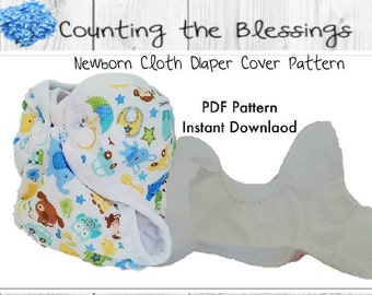Newborn cloth diaper cover pattern,  instant download sewing pattern, Counting the Blessings newborn cloth diaper pattern, Digital download