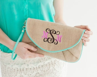 Burlap Clutch, Bridesmaid Gift, Personalized Clutch,  Cross body Purse, Wristlet Clutch, Gift for Woman, Personalized Bridesmaid Gift