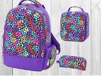Personalized Purple Backpack,  Lunch box, and/or Pencil Case,   Custom school Bookbag, Back to School supplies