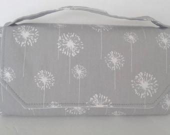 Gray Dandelion Fold Up changing mat, Diaper Clutch Changing Pad , All in one Changing Clutch, Travel changing pad, Changing Wallet