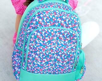 Personalized Girls Confetti print Backpack,   Custom school Bookbag, Back to School supplies