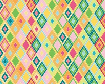 Madhuri Cotton Fabric by the Yard or Half Yard Fabric, or fat quarter, Geometric fabric, Diamond Fabric, Multicolor fabric