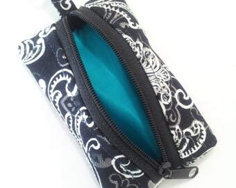 Black and White key ring coin pouch, key ring zippered pouch,  earbud pouch, money pouch, keychain pouch, key chain pouch,