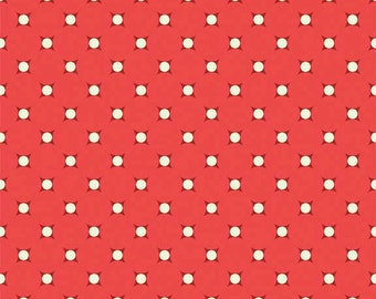 Coral Dots Cotton Fabric by the Yard or Half Yard Fabric,  or fat quarter, Floral Fabric,  Quilting Fabric,
