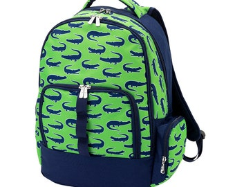 Green and Navy Alligator Kids Backpack-Not Personalized