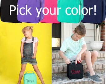 Pink, Navy, Black, Mint or Purple kids lunch box, Personalized kids lunch bag, Solid color lunch box, Back to school supplies