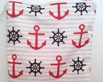 Nautical Wet Bag, Anchor wetbag, waterproof washable bag, you pick size, wet bags for cloth diapers, swimsuits
