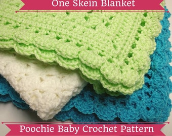 Doll Blanket PATTERN - Crochet Baby Blanket Made with One Skein