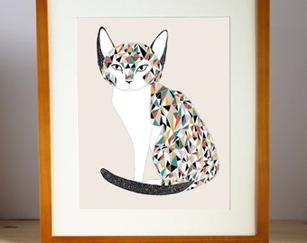 Cat Lover Art, Cat Lady Print, Cat Home Decor, Cat Art Print, Calico Cat Illustration, Calico Cat Print, Calico Cat Artwork