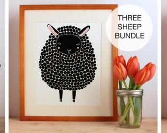 Sheep Pictures, Sheep Wall Art, Black, Brown, Gray Sheep Art Print Bundle, Baby Animal Nursery, Modern Minimalist Nursery Decor