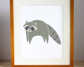 Raccoon Nursery Art, Woodland Raccoon Print, Raccoon Illustration, Raccoon Children's Decor, Woodland Animal Artwork, Woodland Decor