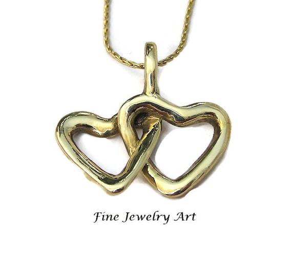 Solid 14k Gold Heart Polished Love Pendant