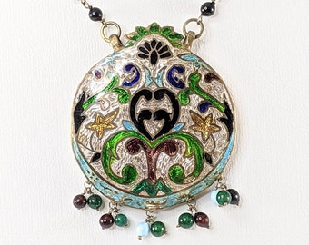 Antique Champleve Necklace, Large Enamel Pendant with Beaded Chain