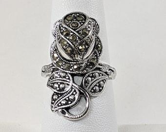 Marcasite Long Rose Ring, Sparkling Flower Ring, US Size 7