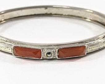 Orange Art Deco Hinged Costume Bracelet with Marcasite and White Enamel