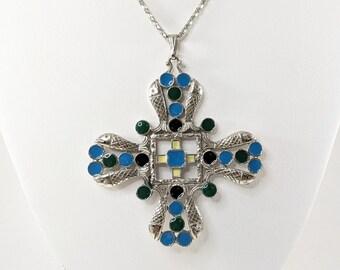 Large Fish Pendant Cross, Enamel St. Labre Costume Jewelry Necklace