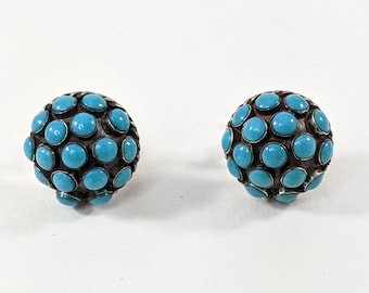 Alpaca Turquoise Screw Back Dome Earrings, Vintage Mexican Silver
