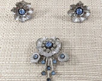 Silver Flower and Blue Rhinestone Convertible Brooch and Earring Set, 1950s Costume Jewelry