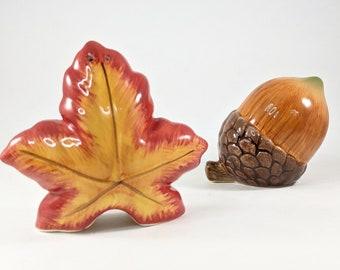 Leaf and Acorn Salt and Pepper Set, Fall Autumn Kitchen Decor