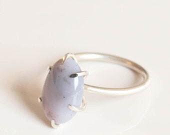 purple agate sterling silver ring