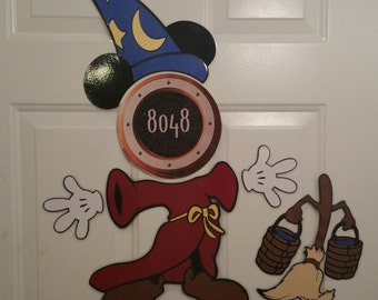 Magical Sorceror Mickey Mouse Body Part With Magical Broom Stateroom Door Magnets for Disney Cruise