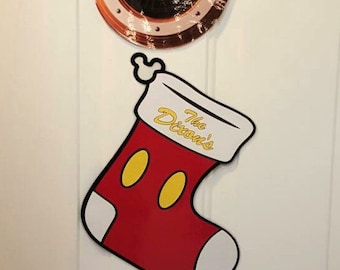 Mickey Mouse Christmas Stocking With Ears Only Body Part Stateroom Door Magnets for Disney Cruise