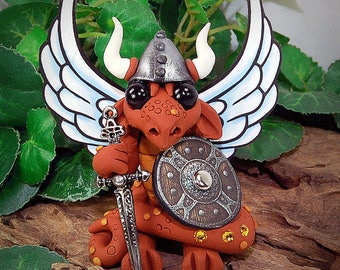 Polymer Clay Viking/Warrior Butterfly Dragon With Large Axe Sculpture Fantasy Home Decor Statue and Collectibles