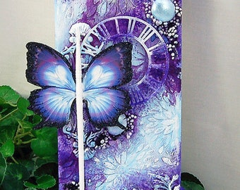 """Ooak Original Mixed Media 4x12"""" Purple & Blue Butterfly Inspire Themed Stretched Canvas Home decor wall hanging"""