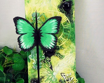 """Ooak Original Mixed Media 4x12"""" Green & Black Butterfly Inspire Themed Stretched Canvas Home decor wall hanging"""
