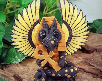 Polymer Clay Anubis/Egyptian Butterfly Dragon Sculpture Fantasy Home Decor Statue and Collectibles