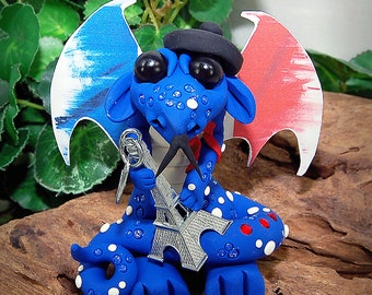 Handmade Polymer Clay Paris Eiffel Tower Dragon Sculpture Fantasy Holiday Home Decor, Collectibles
