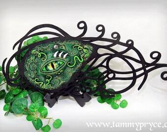Ooak Polymer Clay Large Green Dragon  Eye 3 Dimensional wall plaque Fantasy Home Decor Original Art