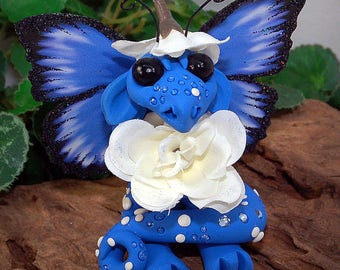 Polymer Clay Blue Flower Butterfly Dragon Sculpture Fantasy Home Decor Statue and Collectibles
