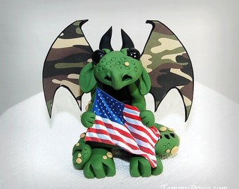 Polymer Clay Military Army Marine Dragon Sculpture Fantasy Home Decor Statue and Collectibles