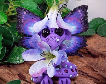 Polymer Clay Purple Flower Butterfly Dragon Sculpture Fantasy Home Decor Statue and Collectibles