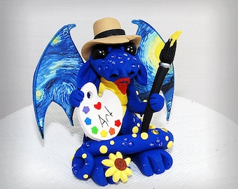 Polymer Clay Vincent Van Gogh Inspired Artist Dragon Sculpture Fantasy Home Decor Statue and Collectibles