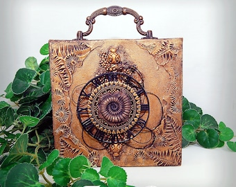 """Original Mixed Media 6x6"""" Ammonite Fossil Themed Collage Assemblage Art Stretched Canvas Home decor wall hanging"""