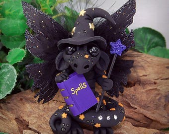 Polymer Clay Black Witch Butterfly Dragon Sculpture Fantasy Home Decor Statue and Collectibles