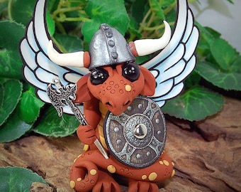 Polymer Clay Viking/Warrior Butterfly Dragon With Axe Sculpture Fantasy Home Decor Statue and Collectibles