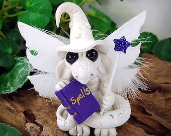 Polymer Clay White Witch Butterfly Dragon Sculpture Fantasy Home Decor Statue and Collectibles