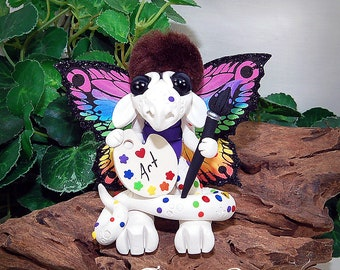 Handmade Polymer Clay Bob Ross Inspired Artist Dragon Sculpture Fantasy Holiday Home Decor, Collectibles