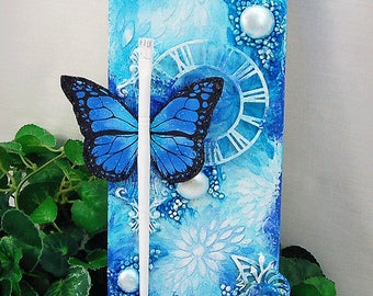 """Ooak Original Mixed Media 4x12"""" Blue & White Believe Butterfly Themed Stretched Canvas Home decor wall hanging"""