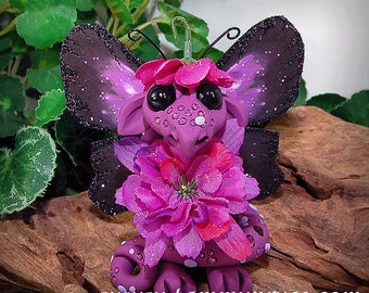 Polymer Clay Purple & Black Flower Butterfly Dragon Sculpture Fantasy Home Decor Statue and Collectibles
