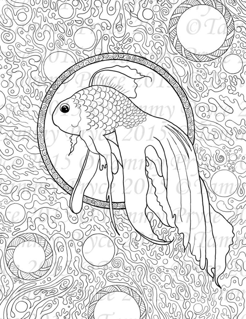 Fantasy Fish Zen Doodle Adult Coloring Page Digi Stamp ...