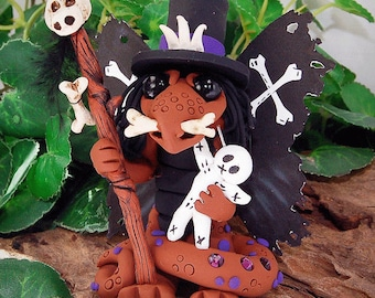 Polymer Clay Voodoo Witch Doctor Butterfly Dragon Sculpture Fantasy Home Decor Statue and Collectibles